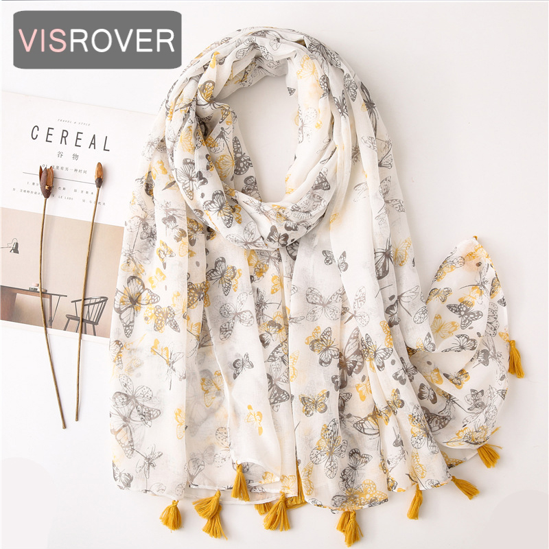 VISROVER 2020 New Butterfly Printing Viscose Summer Scarf With Tassel Fashion Beach Wraps Spring Shawls Hijab Gift Wholesales