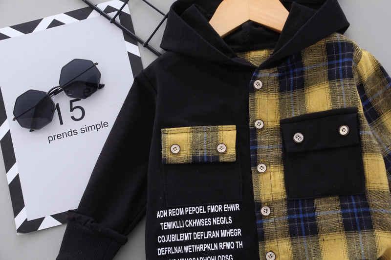2020 jesień dzieci ubranka dla dzieci dzieci chłopcy dziewczęta plaid patchworkowe bluzy z kapturem kurtka spodnie zestawy odzież niemowlęca niemowlę dresy