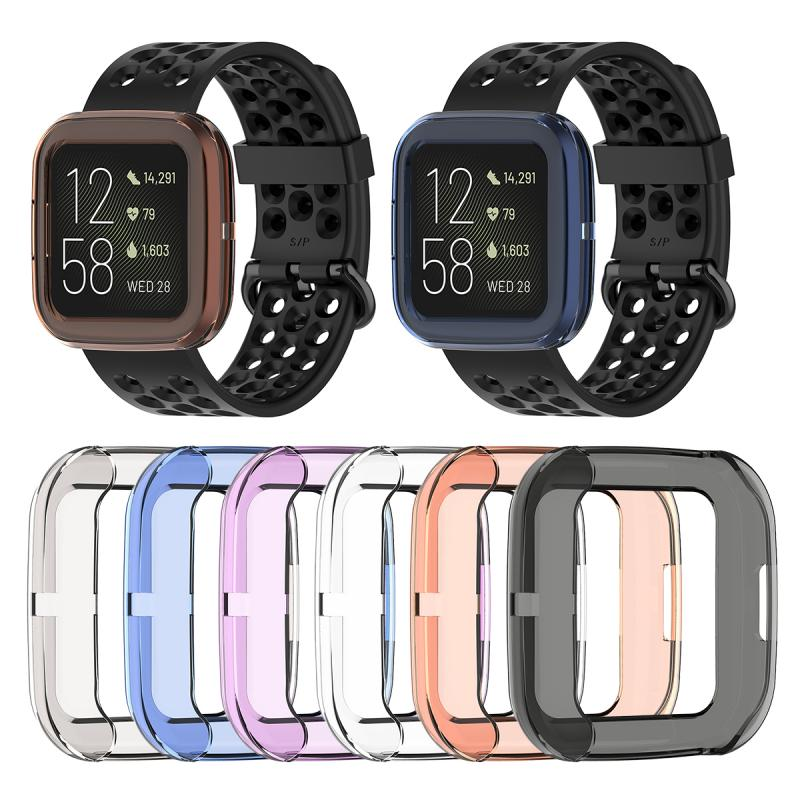 For Fitbit Versa 2 Band Ultra-thin Soft TPU Protector Case Cover Clear Protective Shell Smart Watch Bracelet Screen Protector