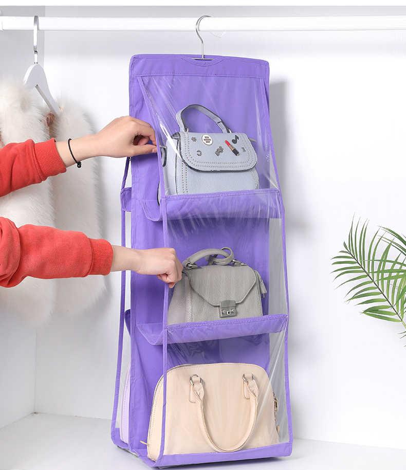 สองด้านแขวนกระเป๋ารองเท้ากระเป๋าจัดเก็บ Closet แขวนผู้ถือกระเป๋าถือ Organizer