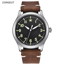 42mm Corgeut black sterile dial Sapphire Glass leather strap MIYOTA 8215 Automatic mens Watch