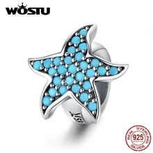 WOSTU 925 Sterling Silver Starfish Silicone Stopper Spacer Blue Zircon Charms Pendant Fit Original Bracelet Bead Jewelry CQC1313(China)