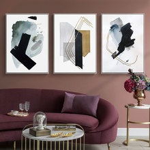 Drop Shipping Canvas Wall Art Print Abstract Painting Black Gray Blue Watercolor Golden Lines Posters Picture Living Room Decor