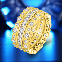 European and American style Micro Inlaid Ziron Ring 18K Gold Ring AAA Ziron Yellow Wide Gold Rings Channel set Band Ring