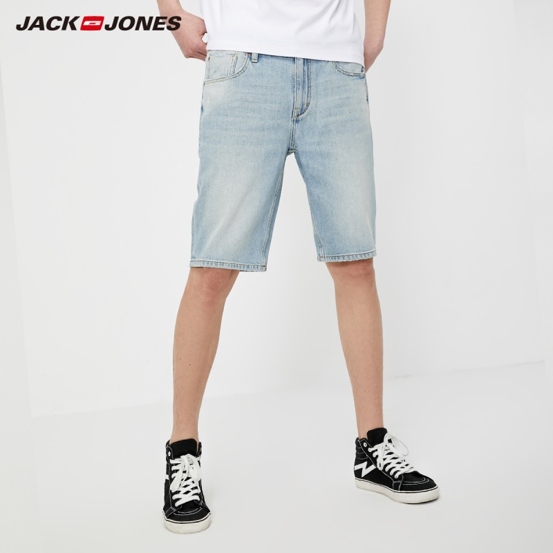 JackJones Men's Slim Straight Fit Lightly Washed Denim Shorts Beach Style| 219243508
