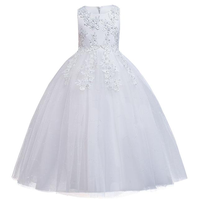 2020 Summer White Bridesmaid Girl Dress Elegant Kids Dresses For Girls Children Party And Wedding Clothing Long Princess Dress