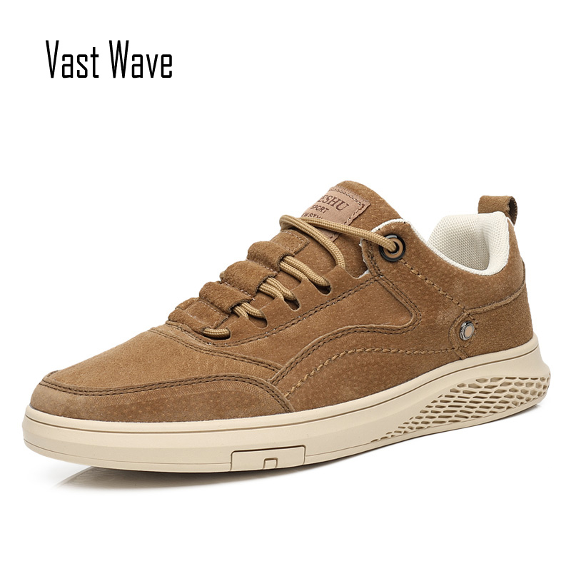 VastWave Genuine Leather Pig Skin Mens Shoes Casual Slip Resistent Luxury Man Leisure Leather Shoes For Male Canvas Shoe