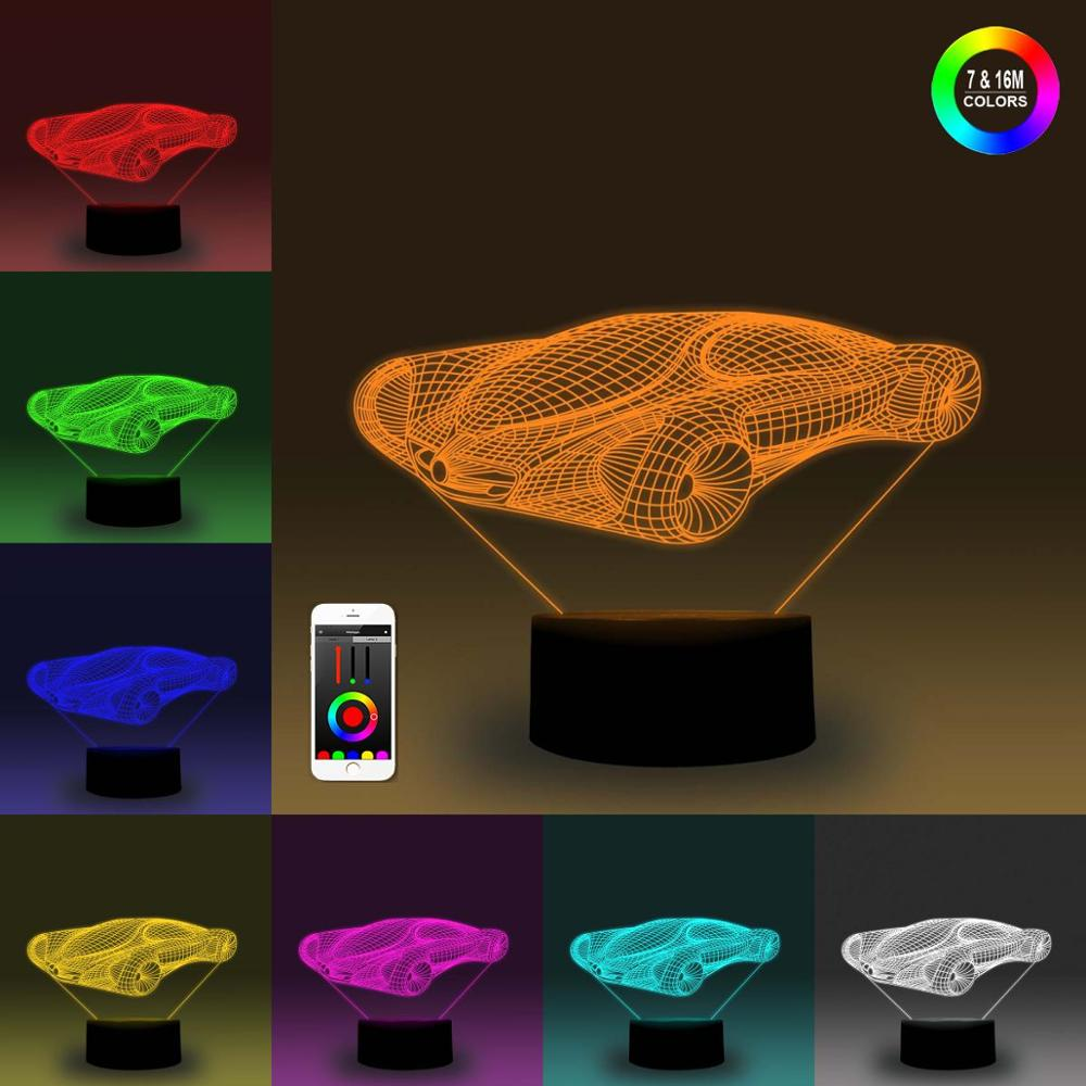 NiteApps 3D Concept Car Night Light Desk Table Illusion Decoration Lamp Holiday Birthday Gift APP/Touch Control