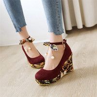 YMECHIC Spring 2020 Fashion Bow Bead Ankle Strap Platform Heels Ladies Shoes Red Black Flock Print Pumps Shoes Woman High Heel