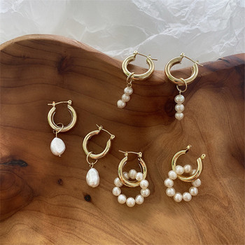 Barokowe perły kolczyki koła w kolorze złota dla kobiet grube okrągłe okrągłe obręcze perły koraliki kolczyki koreański 2020 biżuteria tanie i dobre opinie JEAE CN (pochodzenie) Ze stopu cynku Kobiety 27mm * 20mm Kolczyki w kształcie kółek TRENDY ROUND Perła perły słodkowodne