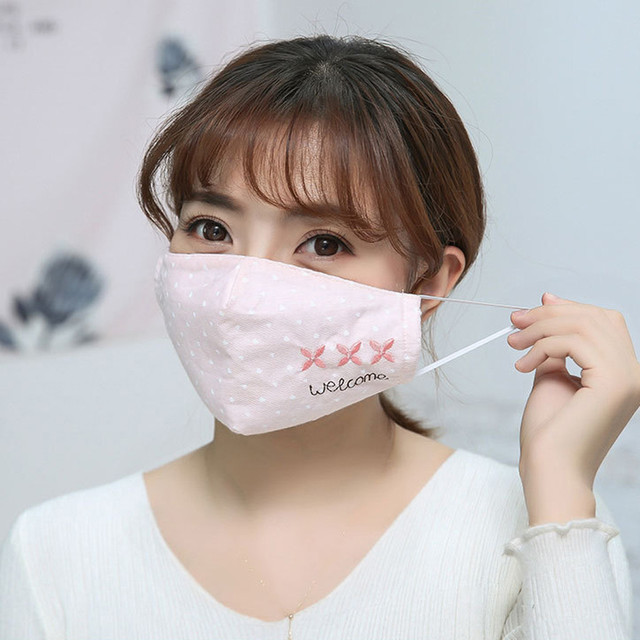 Women Printing Mask Spring Cotton Embroidery dot Dustproof Knot Bow Breathable Masks Fashion Pink Korean Mouth Face Mask #W3 1