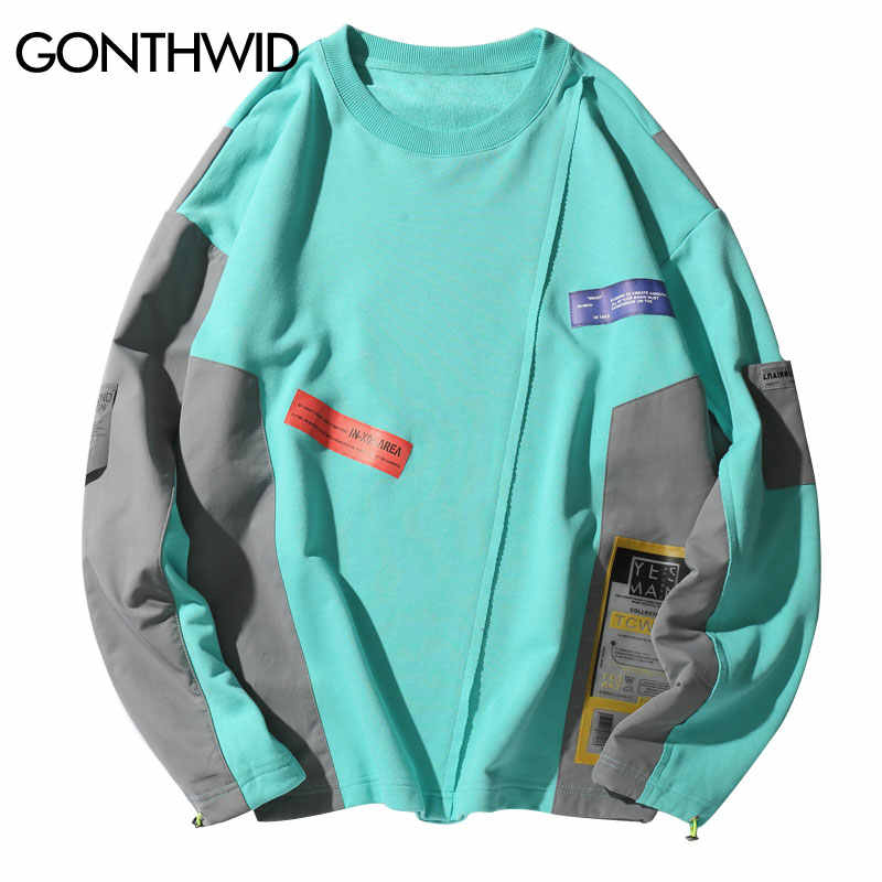 GONTHWID Farbe Block Patchwork Pullover Sweatshirts Hoodies Streetwear 2019 Männer Hip Hop Hipster Harajuku Casual Hoodie Tops Männlich