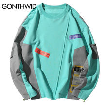 GONTHWID Farbe Block Patchwork Pullover Sweatshirts Hoodies Streetwear 2019 Männer Hip Hop Hipster Harajuku Casual Hoodie Tops Männlich(China)