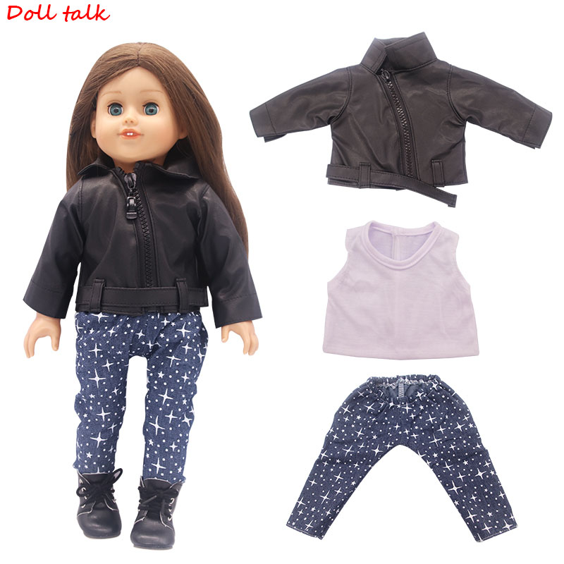 4 Pieces American Doll Clothes T-shirt Jacket Coat Pants Shoes Suit For 43 Cm Dolls And 18-Inch Doll Toy Accessories Doll Outfit