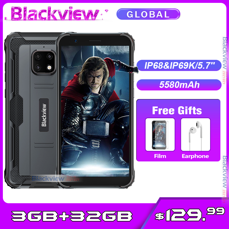 Blackview BV4900 5580mah 3GB 32GB Face Recognition 8mp New Smartphone Rugged NFC Android 10.0