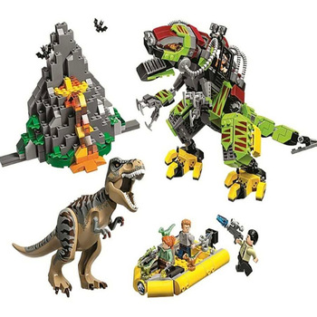 Jurassic World Movie Dinosaur T. Rex Vs Dino-mech Battle Building Blocks Bricks Toys Children's Christmas Gift 75938 16pcs building blocks avengers world park dino world dinosaur toys model kids bricks christmas gift toys