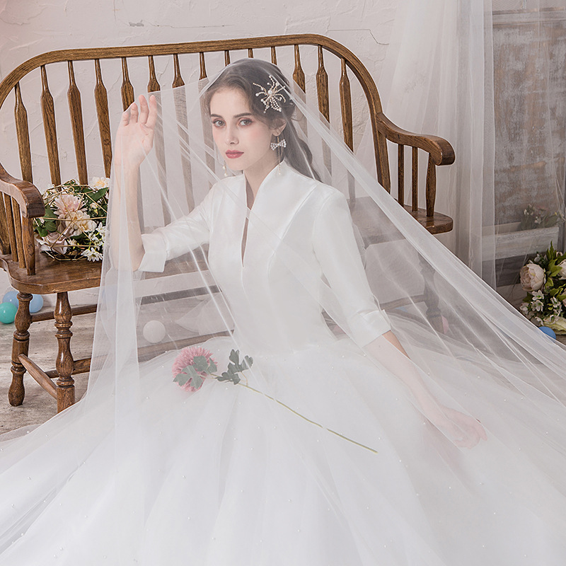 Wedding Dress Tulle Fabric Encryption Color Soft Tulle Wedding Scene Decoration Background Studio Creative Fabric WAS10177
