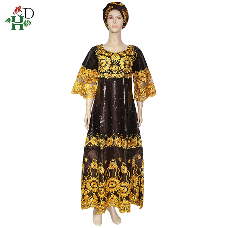 African-Dresses Stones Flower Dashiki Bazin Boubou Women Lace for Riche Brown Gold Embroidered