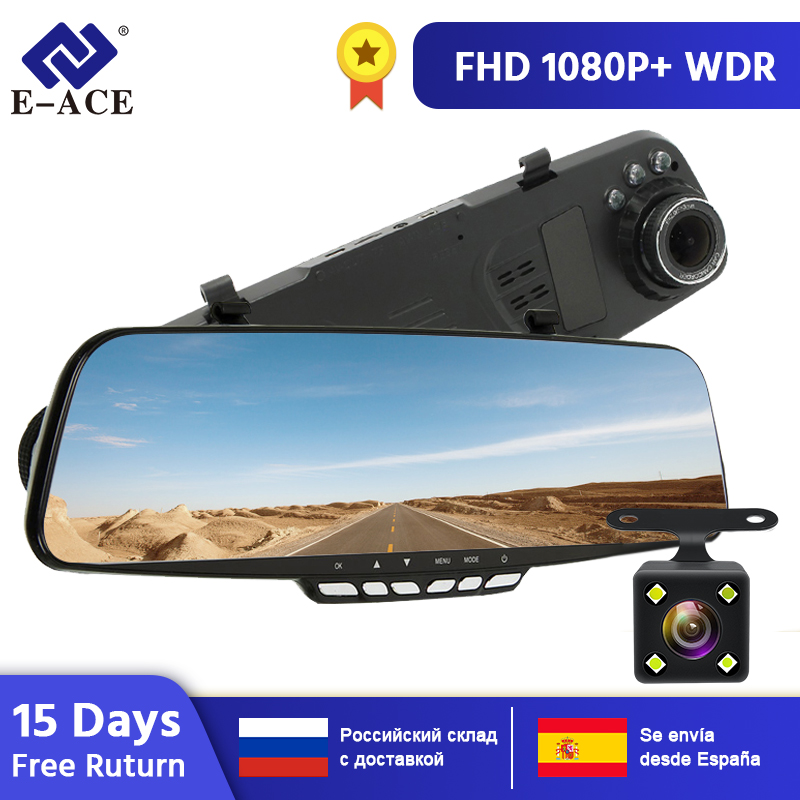 "Hot 4.3/"" HD 1080P Dual Lens Car Rear view Mirror DVR Camera Dash Cam Recorder BG"