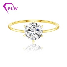 0.3ct 4mm Round Brilliant Cut Heart and Arrows D Color Moissanite Ring 14K Yellow Gold 1.8mm Ring Band  0.8mm small stones