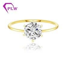 Anillo de moissanita redondo de oro amarillo de 14K, 0,3 CT, 4mm, corazón y flechas de corte brillante, banda de anillo de 1,8mm, piedras pequeñas de 0,8mm