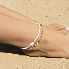 Natural Seashell Conch Ankle Anklets For Women 2pcs/set On Leg Anklets Bracelets Boho Barefoot Sandals Beaded Ankle Foot Jewelry