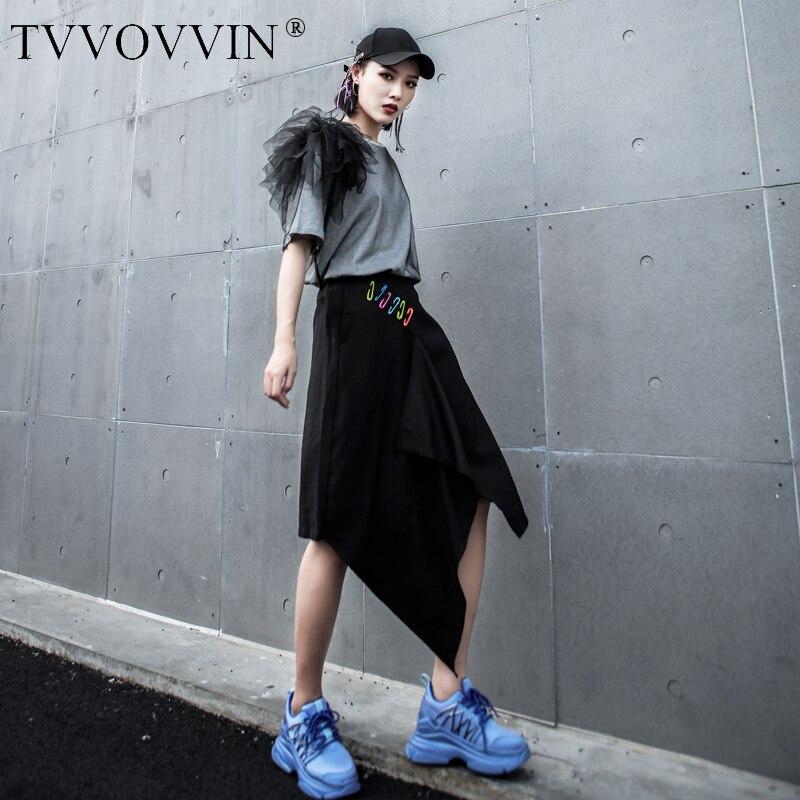 TVVOVVIN 2019 taille élastique noir irrégulière genou longueur pantalon pour femme Pin décoration été mode nouveau pantalon ample AS693