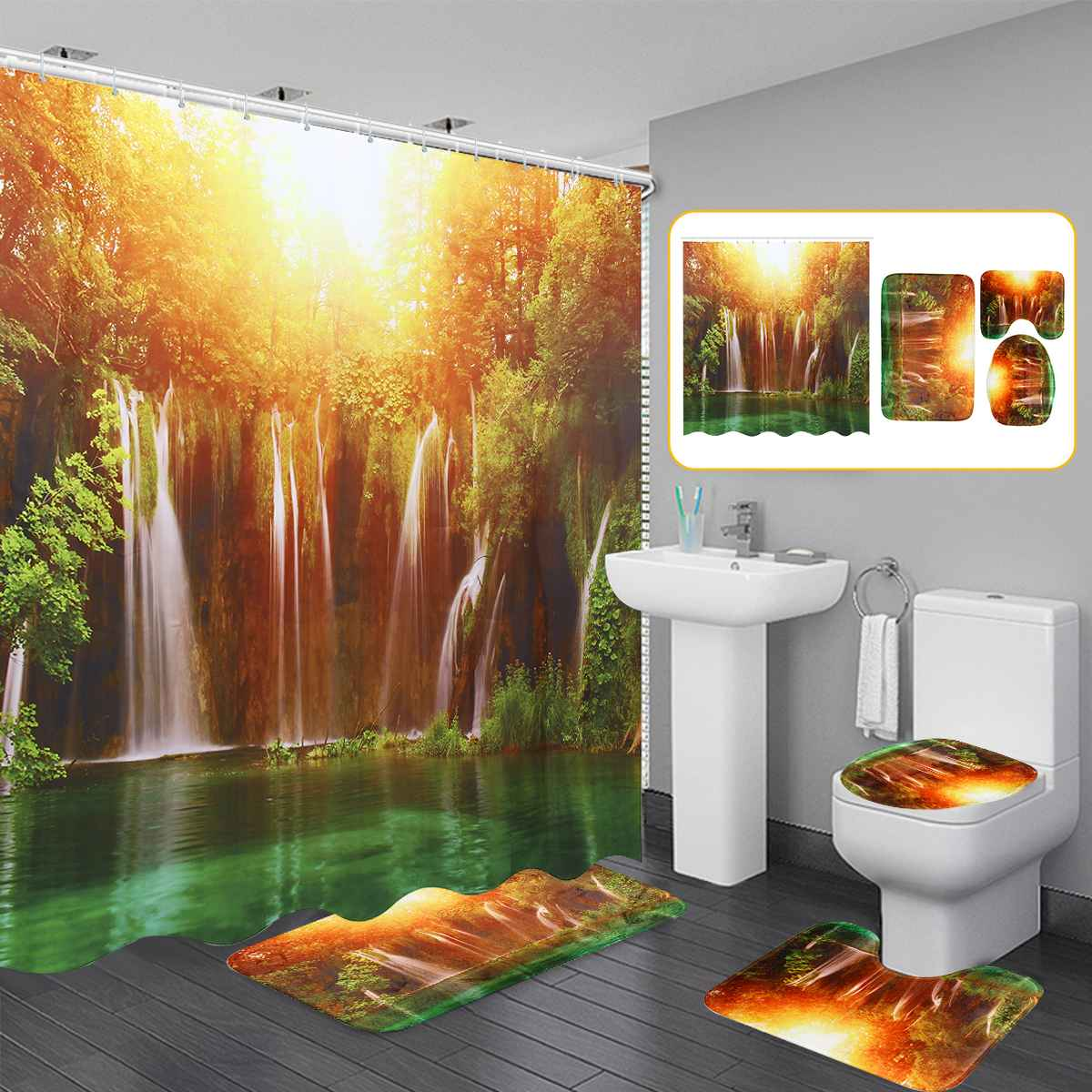 4PC//Set Tiger Bathroom Waterproof Shower Curtain Toilet Lid Cover Bath Mat Rugs