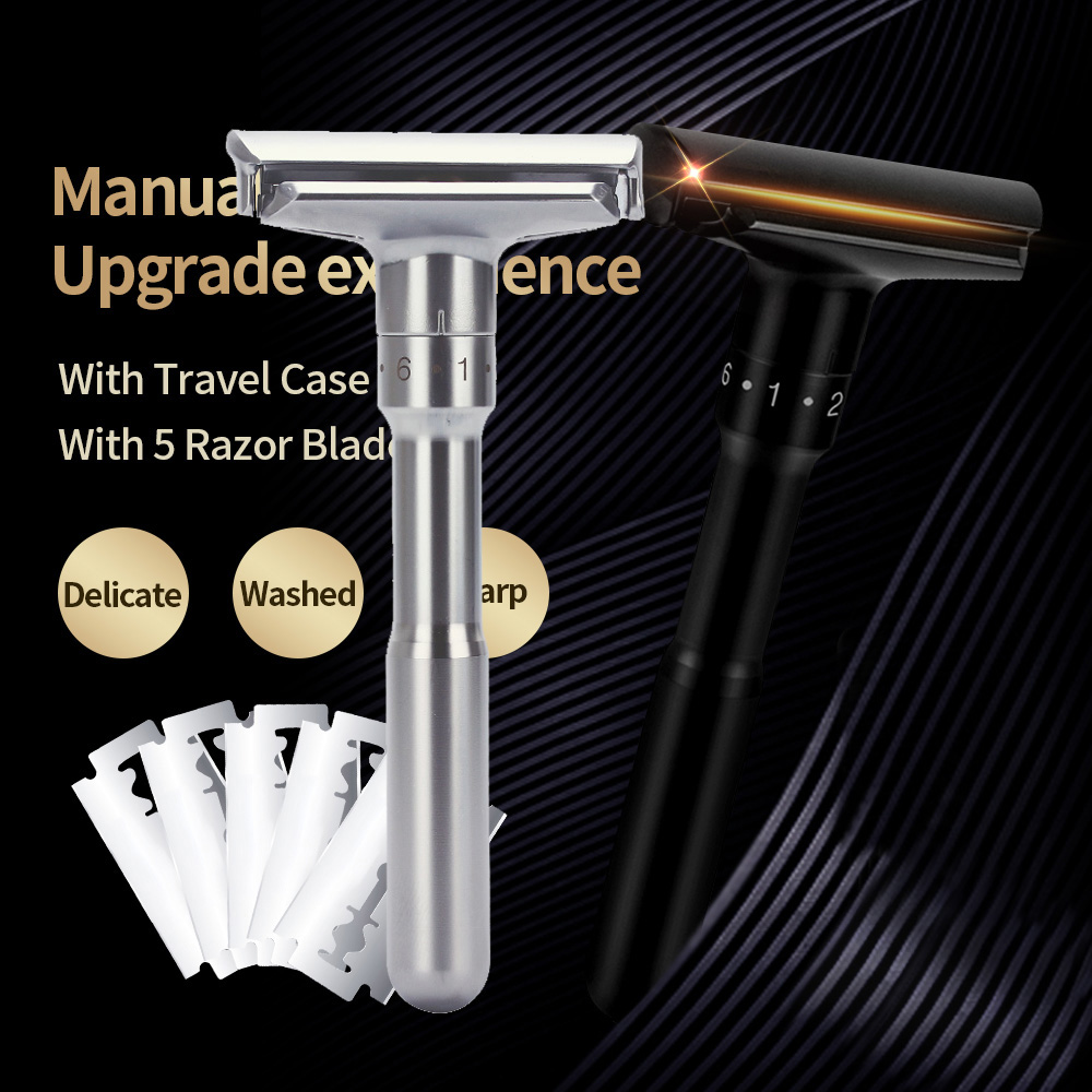 Adjustable Safety Razor Double Edge Classic Mens Razor Shaving Razor Blades 1-6 File Hair Removal Shaver With 5 Blades