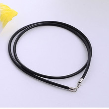925 sterling silver clasp rubber leather cord rope for jewelry accessories ne cklace leather cord for men and women DIY jewelry стоимость