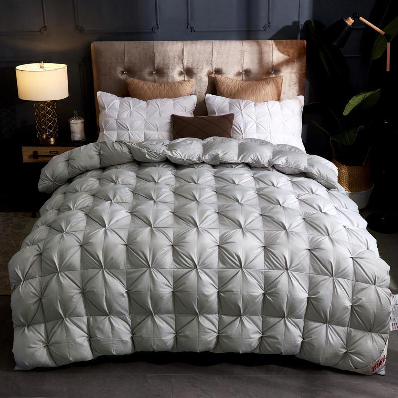 Edredón de lujo grueso de invierno edredones de algodón blanco pato 100% relleno de ganso reina tamaño King edredón 3D manta de pan colcha