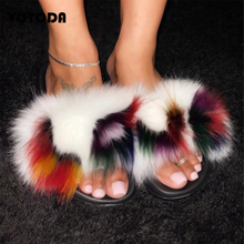 New Women Fur Slippers Female 100% Real Fox Fur Slides Home Fluffy Flat Sandals Woman Beach Furry Flip Flops Ladies Plush Shoes luxury women slippers real fox fur summer shoes platform plush woman slippers beach shoes outdoor plus size flat slides female