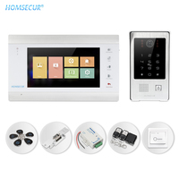 HOMSECUR 7 AHD Video Door Intercom Call System with IP65 RFID Password Access Fail Safe Lock Remote Unlock Exit Button Included