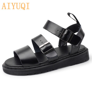 Summer Martin Sandals Women 2020 New Rome Buckle Open Toe Beach Shoes Women Genuine Leather Sandals Thick Women Couples 2017 new fashion hgh top women sandals rome styles open toe summer beach shoes slip on female buckles sandals