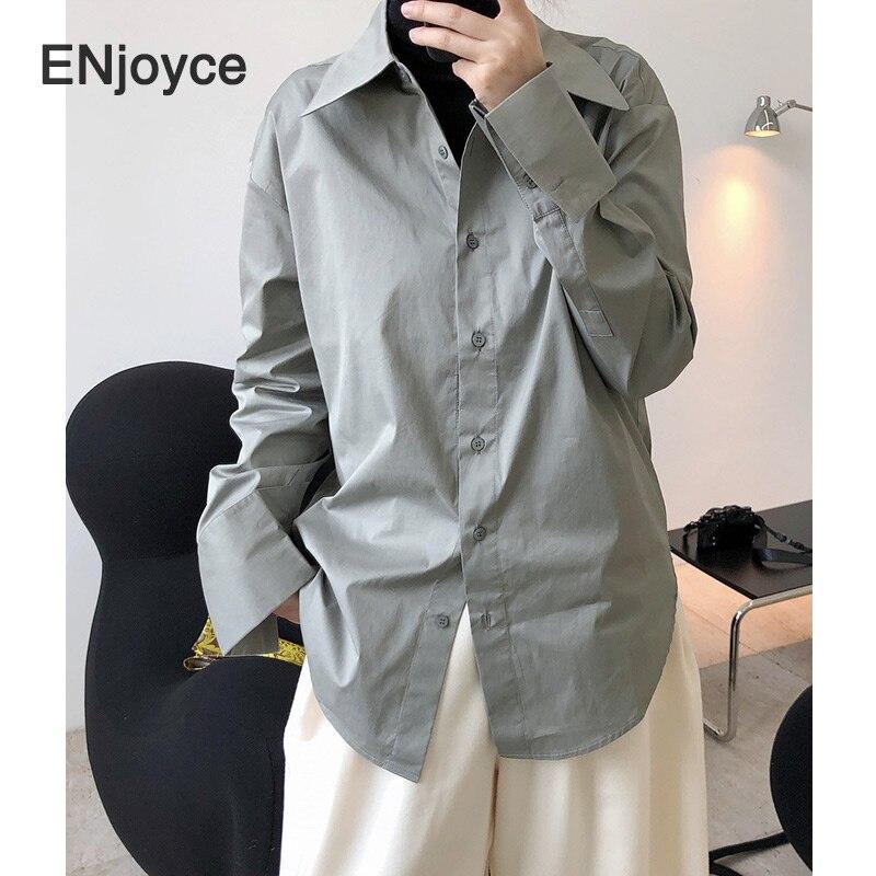 Woman Blouse Vintage Grey Long Sleeve Shirts Women 2021 Spring Fashion Korean Style Plus Size Clothing Oversized Collar Shirt