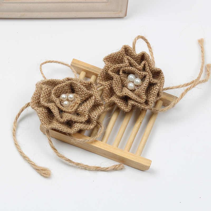 1Pcs หมวกอุปกรณ์เสริมหัตถกรรมตกแต่งตกแต่ง Rustic ผู้ผลิต Craft Decor ธรรมชาติ Jute Burlap Hessian Bowknot Bows