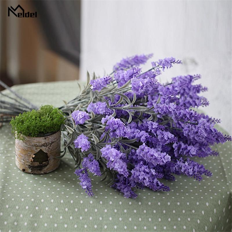 Meldel DIY Bouquet Artificial Lavender Flower Wedding Girl Fake Lavender 4 Heads Flower Purple Home Party Wedding Wall Decor