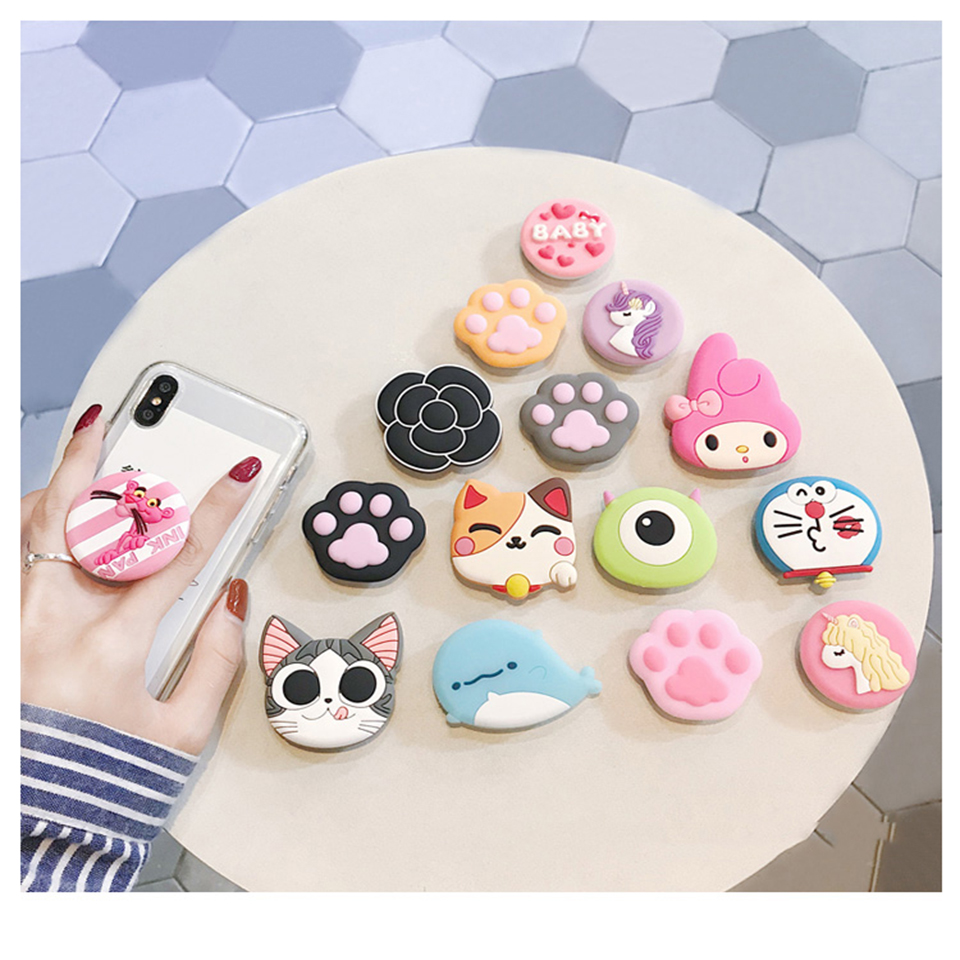 Universal Phone Socket Stand Bracket Expanding Stand Stretch Grip Phone Holder Finger Cute Cartoon Stand For Iphone 7 8 Plus XS