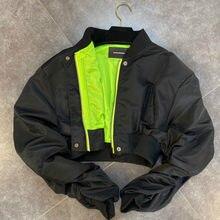 Deat 2021春秋の新着長袖スタンドカラージッパーショート黒作物ジャケット女性コートストリートGA980