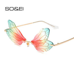 Fashion Sunglasses Shades Dragonfly Steampunk Ocean-Lens Clear Rimless Vintage Women