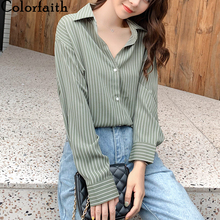 Colorfaith New 2020 Women Summer Blouse Shirts Fashionable Striped Single Breast