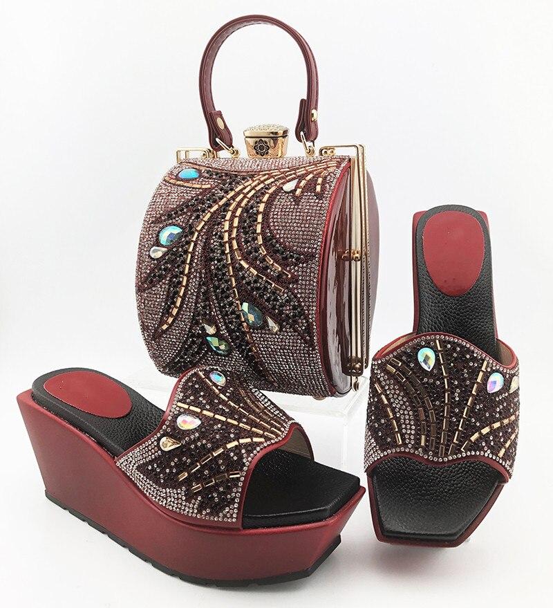 high quality wine women pumps with crystal decoration african dress shoes match handbag set MD014,heel 9CM