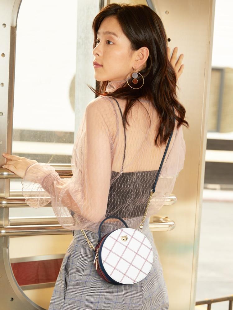 FOXER Round Handbag Cellphone-Bag Crossbody-Bags Female Circular Mini Women Split-Leather