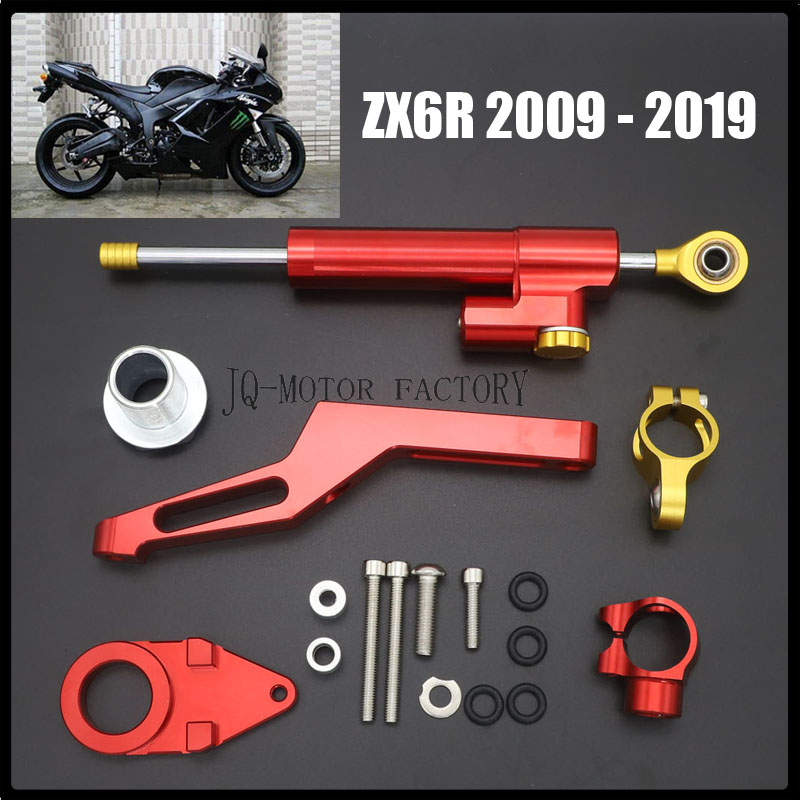 GZYF Motorcycle CNC Steering Damper Stabilizer Mounting Bracket Kit Replacement Compatible with Kawasaki Ninja ZX6R 2009-2016 Black