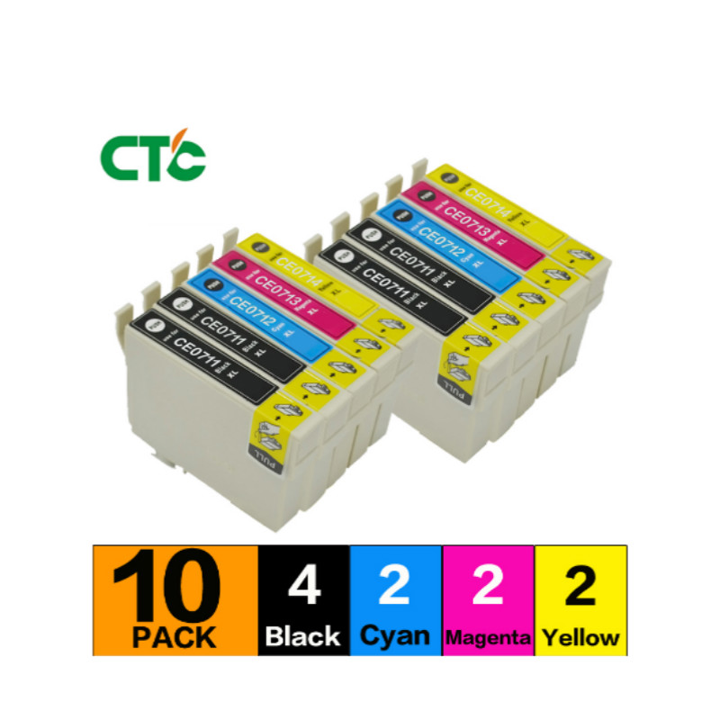 10 T0715 Ink Cartridges Compatible For T0711 T0712 T0713 T0714 Stylus Office B40W BX310FN BX600FW BX610FW SX610FW Printer
