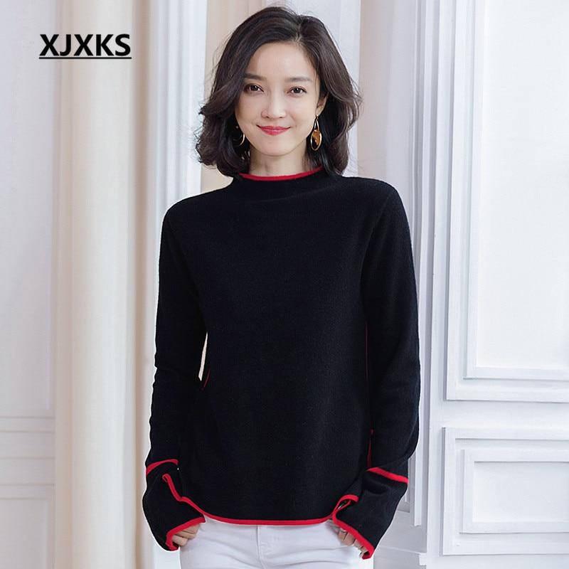 XJXKS 2019 ฤดูใบไม้ร่วงฤดูหนาวใหม่ผู้หญิงเสื้อกันหนาวสบาย 100% ขนสัตว์คุณภาพสูงถักเสื้อกันหนาวผู้หญิง pullover-ใน เสื้อคลุมสวมศีรษะ จาก เสื้อผ้าสตรี บน   1