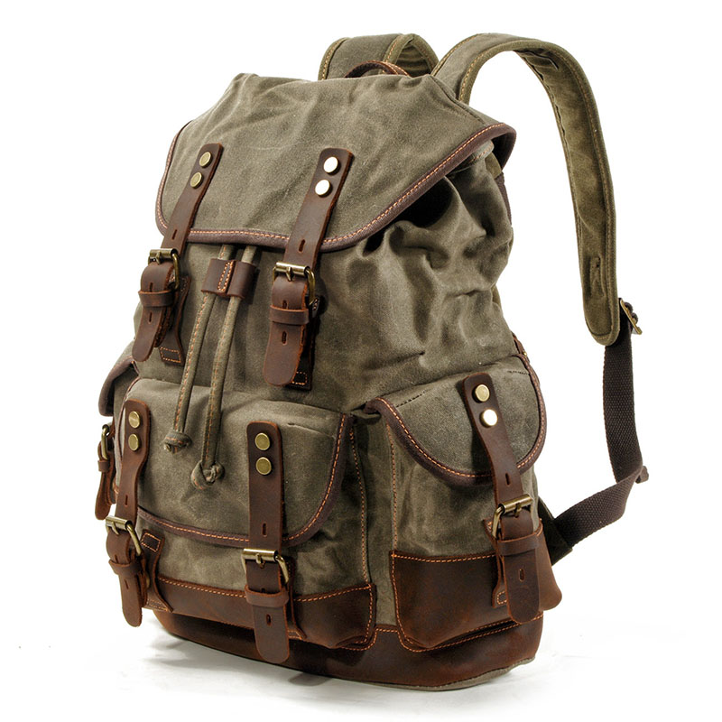 New Vintage Canvas Leather Backpacks for Men Laptop Daypacks Waterproof Canvas Rucksacks Large Waxed Mountaineering Travel Pack