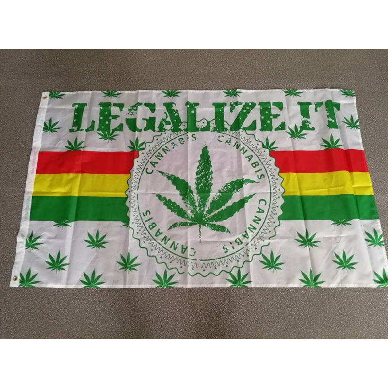 BOB Marley Reggae Rasta Hippie Band 90*150cm 420 somewhere legalize it weed Flag For Bar Party Music Festival Tattoo Shop image