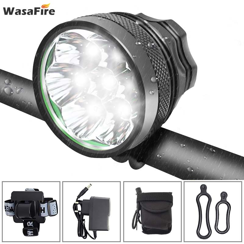 WasaFire 10000 Lumen Bicycle Light 7* XML T6 Bike Headlight Cycling LED MTB Bike Front Light + Rechargeable 18650 Battery Pack