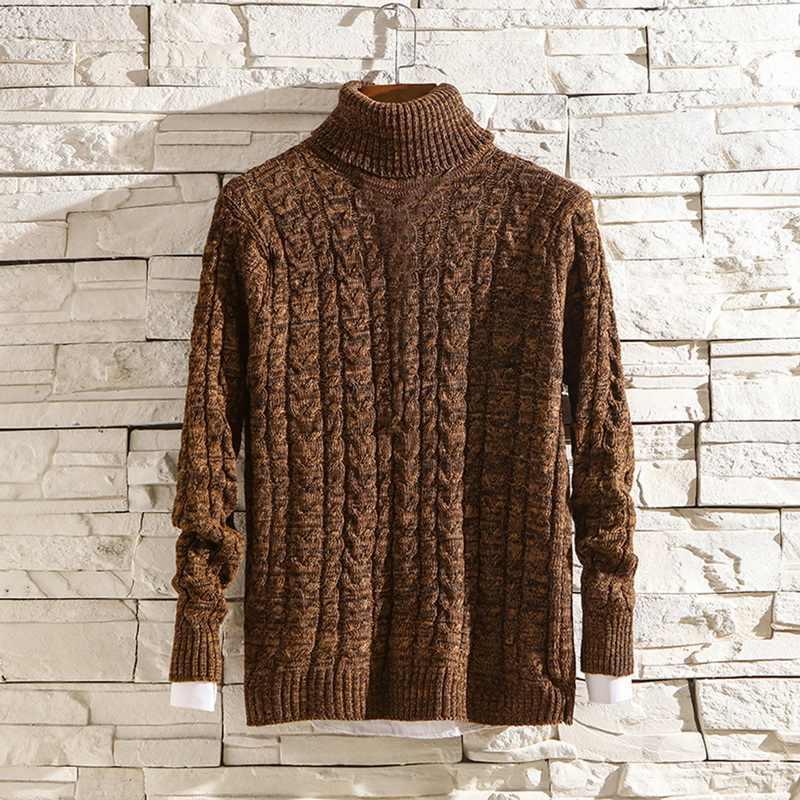 MoneRffi Winter High Neck Dicke Warme Pullover Männer Rollkragen Marke Herren Pullover Slim Fit Pullover Männer Strickwaren Männlichen
